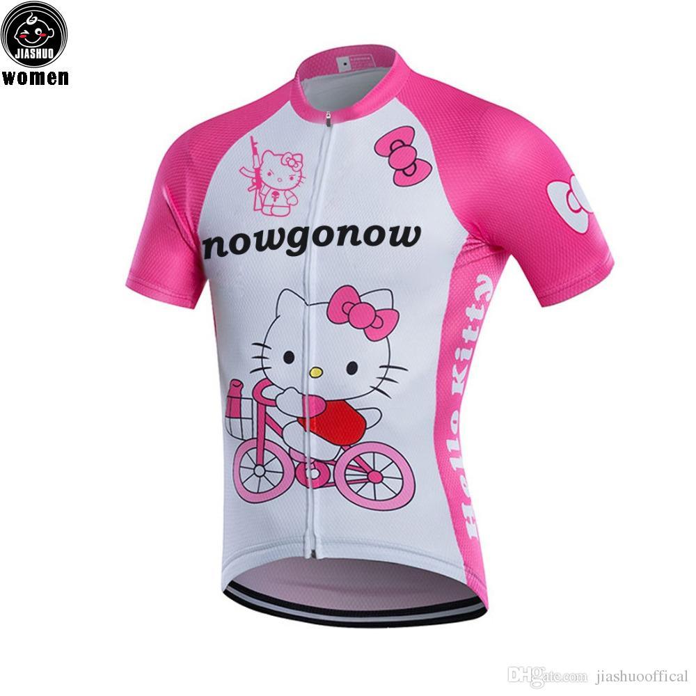 Kadınlar Özelleştirilmiş YENI Lovly kedi Bisiklet mtb yol YARI Takım Pro Cycling Jersey / Gömlek Tops Giyim Solunum Hava JIASHUO