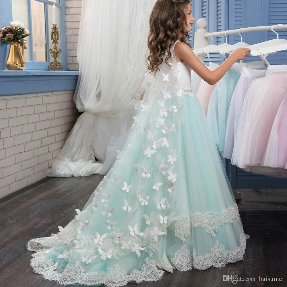 Elegant Puffy Ball Gown Flower Girls' Dresses for Little Girls Glitz Double Lace Hem Long Kids Puffy Prom Dresses with Butterfly Cape