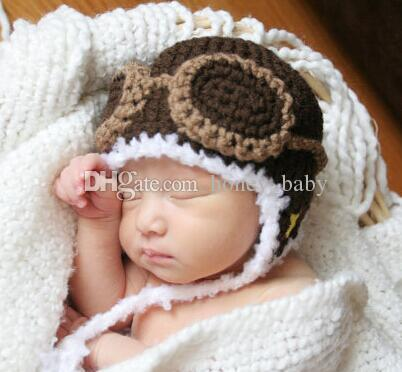 28248d2f24f Aviator Hat Pilot Crochet Knitted Hat Baby Boys Girls Children Winter  Christmas Animal Cap Newborn Infant Toddler Beanie Earflap Photo Props UK  2019 From ...