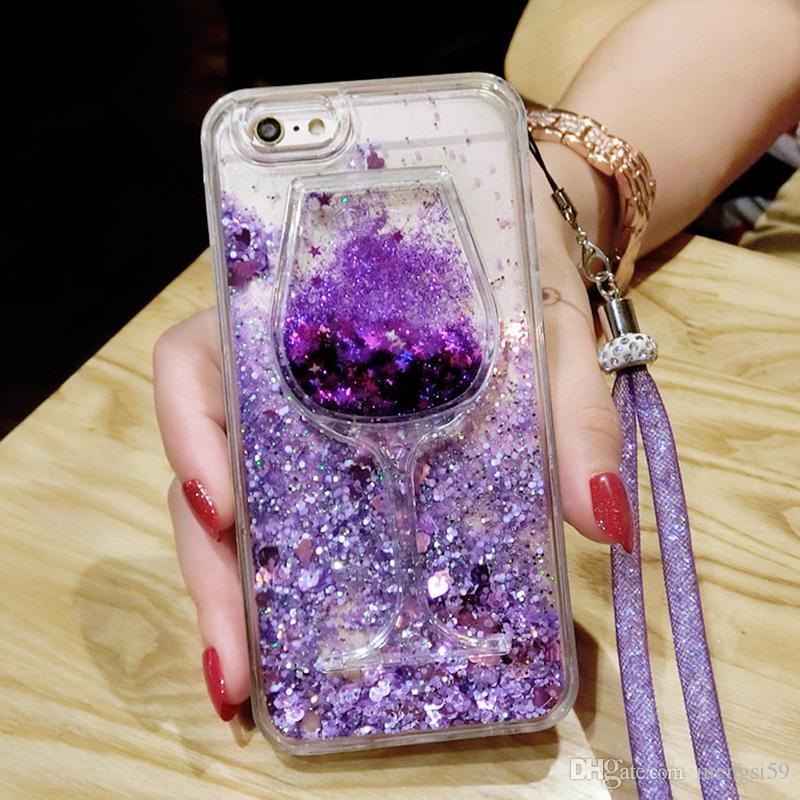 best service 54c3e a69c1 For Samsung galaxy s6 s7 s8 edge plus note 3 4 5 Diamond Wine Cup Quicksand  soft glitter case cover crystal lanyard