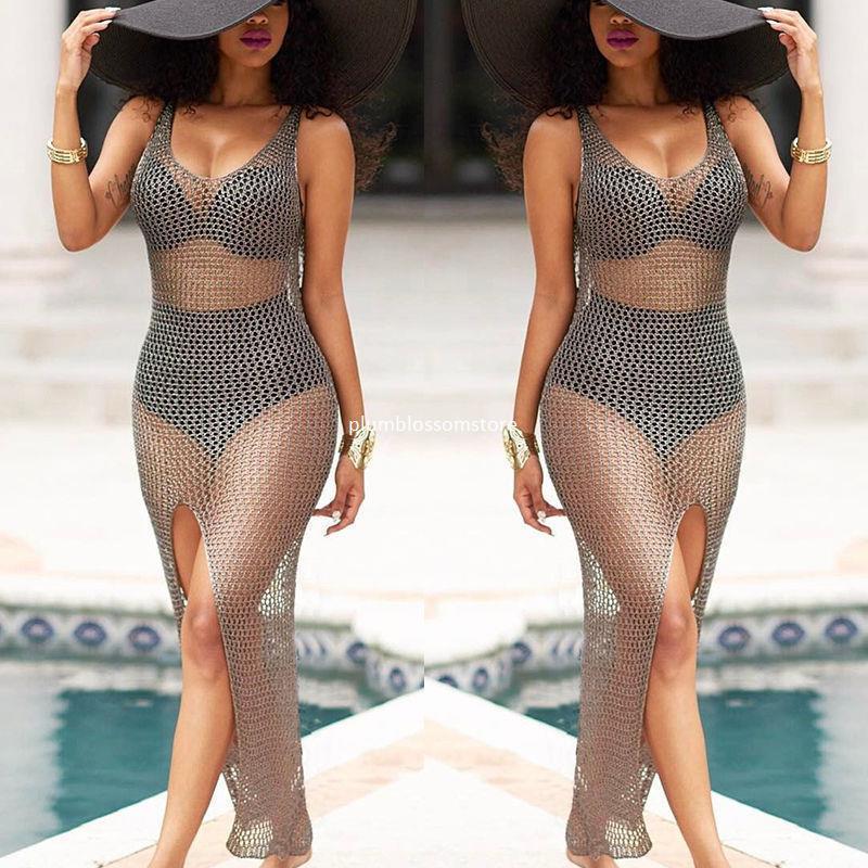 27f983fdc0542 Compre Crochet Ahueca Hacia Fuera Pareo Beach Bikini Cubrir Trajes De Baño  Mujeres Vestidos De Protección Solar Traje De Baño Traje De Baño Traje De  Baño ...