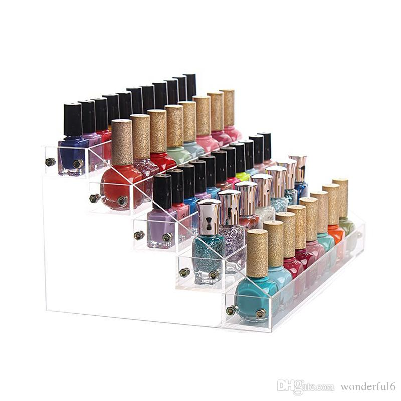 New Creative Clear Acrylic Nail Polish Rack Cosmetic Organizer Women Makeup Tools Storage Shelf Lipstick Holder Jewelry Container
