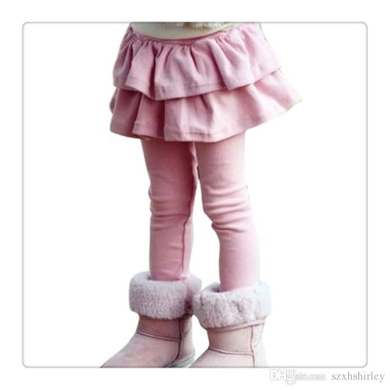 2016 Hot Girls Tutu Pantskirt Stretchy Fleece Lined Footless Leggings With Ruffle Tutu Skirt For Girls Kids Double Layers Culottes Pants