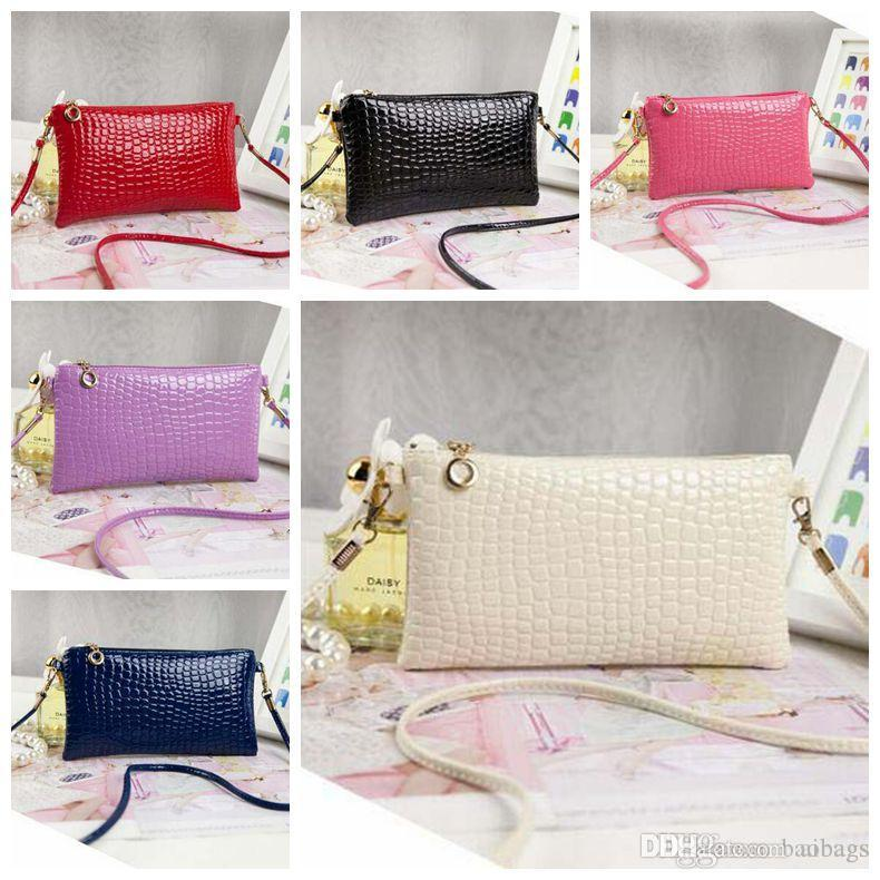 4caea721c3e0 Pinkycolor Women Lady PU Leather alligator Hang bags Shoulder flap Patent  leather Purse mini Cross body Bags