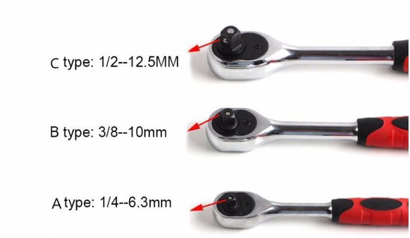 1/2 3/8 1/4 Torque Ratchet Wrench Socket 24 Tanden Quick Release Reparatie Tool
