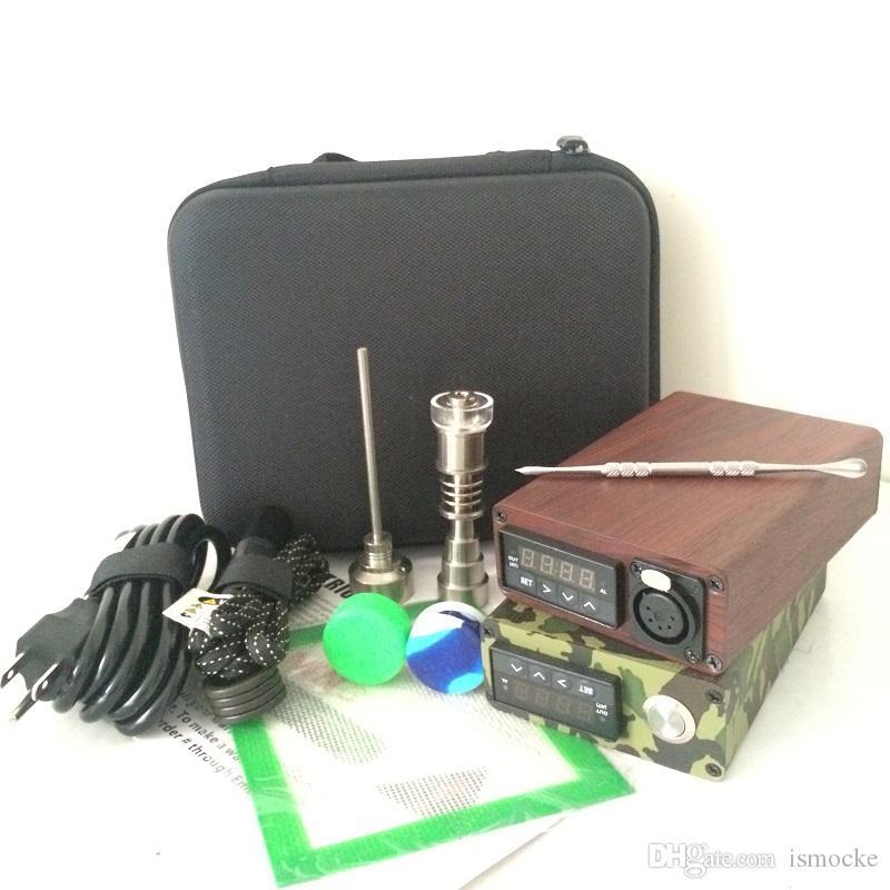 Kit de prego portátil E dab dab prego elétrico rig E D dabber eletrônico caixa de controle PID TC Titanium Quartz Prego cera seca erva