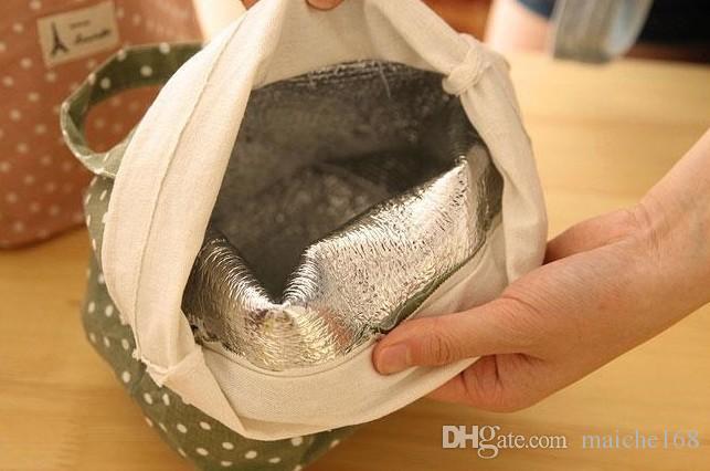 Ponto de onda de algodão e linho lona saco de gelo bolsa de isolamento bolsa de almoço pacote de isolamento