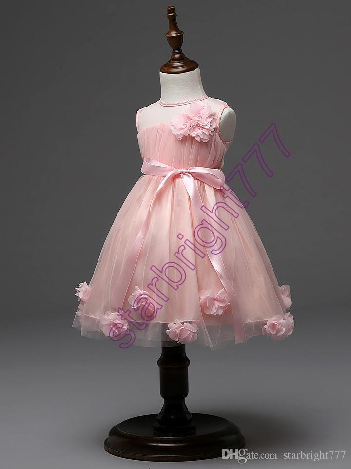 a81f99212c7 2019 Latest Design Flower Girls Wedding Dress 3D Rose Baby Girl Tutu Skirts Kids  Girl S Party Yarn Tulle Organza Dresses Children Ball Gown From ...