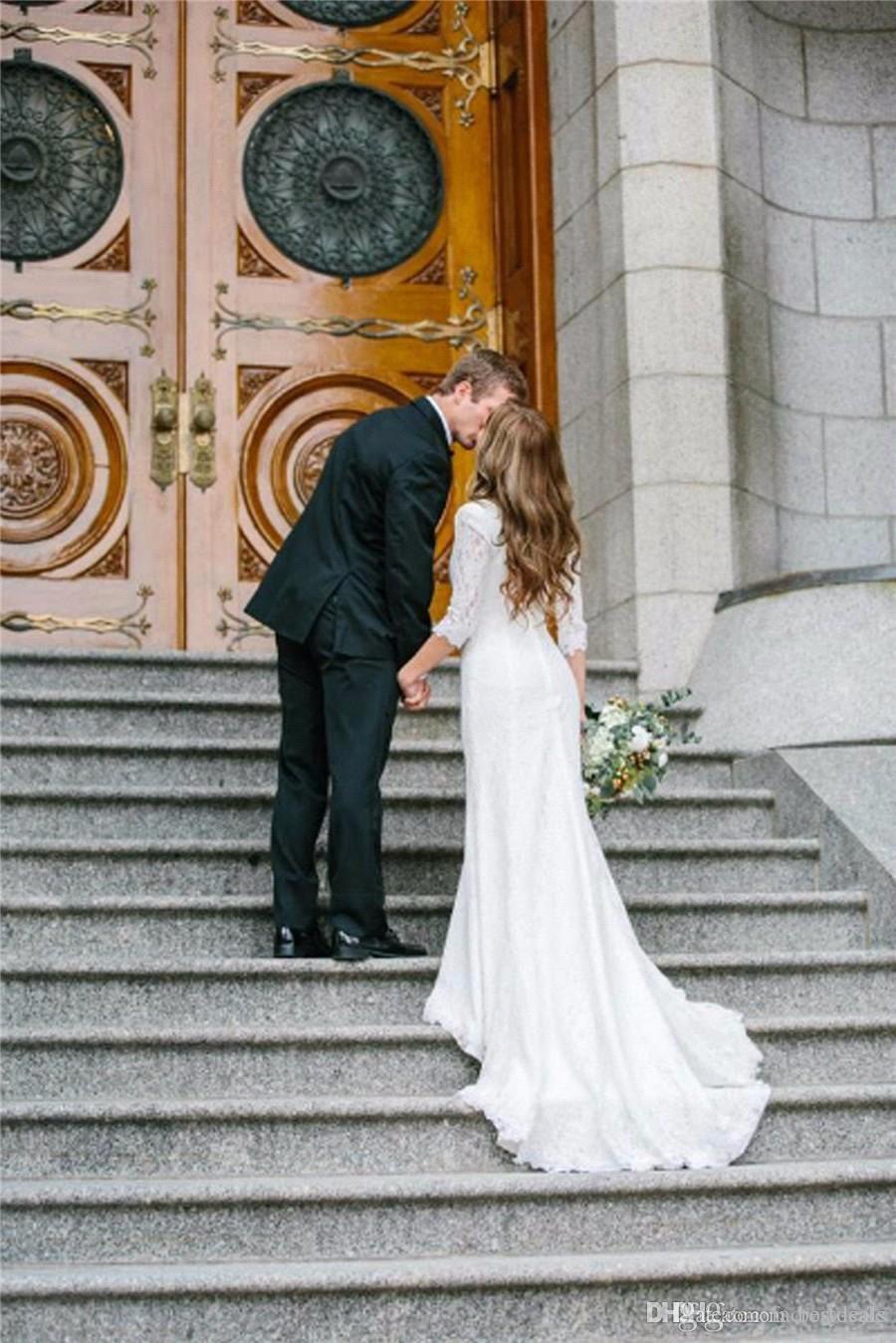 Vintage Abiti da sposa modesto O Collo Maniche lunghe Una linea Bohemian pizzo chiffon Camo abiti da sposa Abiti da sposa BA4690
