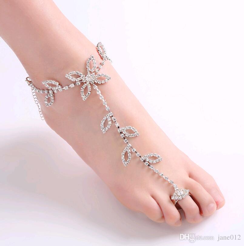 Argent Strass Perles Chaîne de Pied Cheville Bracelet les bijoux de corps