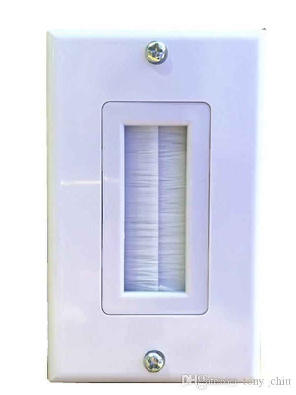 Terrific 1 Port White Brush Audio Av Cable Wall Plate Multifunctional Wiring Digital Resources Nekoutcompassionincorg