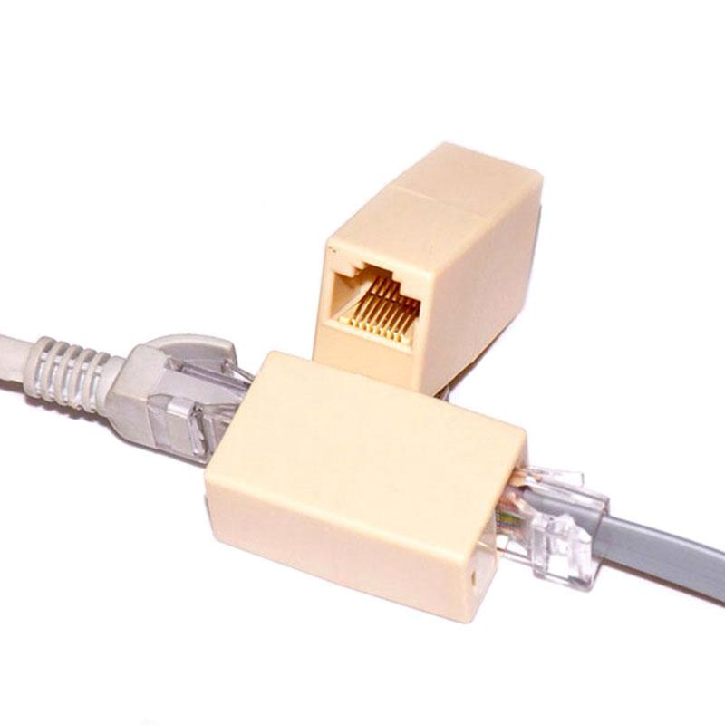 RJ45 Cable de red Extensor Plug RJ11 Phone Joiner Acoplador Conector CAT5E CAT6 Ethernet Lan Repetidor Adaptador de extensión Adaptador Convertidor 8P8C 4P4c