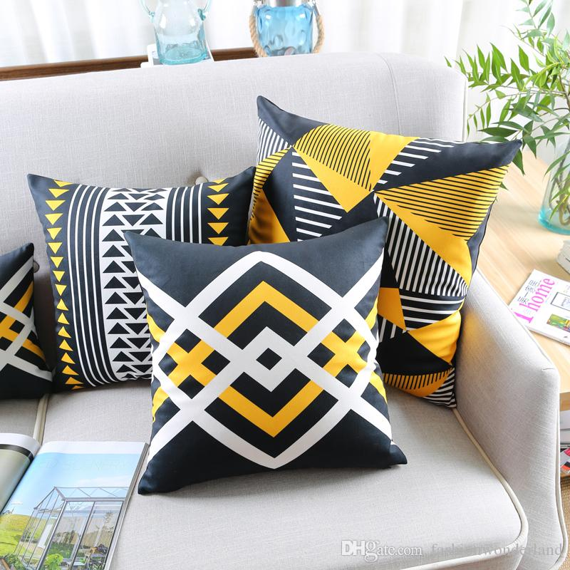 Modern Geometric Cushion Covers 5 Styles Black And Yellow Triangles Soft  Pillows Case 45x45cm 30x50cm Sofa Bedroom Decoration Outside Furniture  Cushions ...