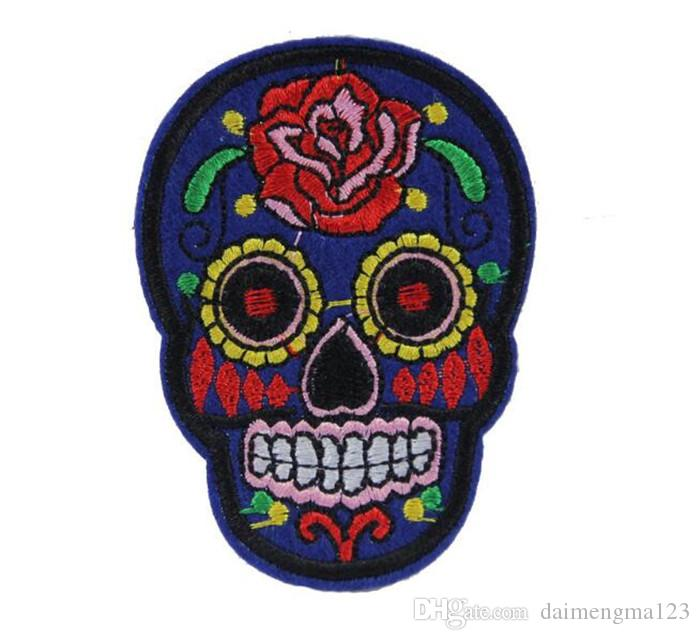 skull patch Iron On Patches Clothes DIY Flowered Skull Embroidered Patches For Clothing Fabric Badges Sewing Patches M032