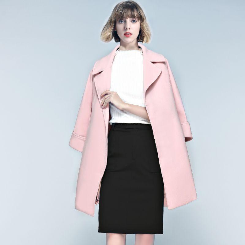 2017 Women'S Long Woolen Coats Blends 2017 Winter Fashion Casual ...