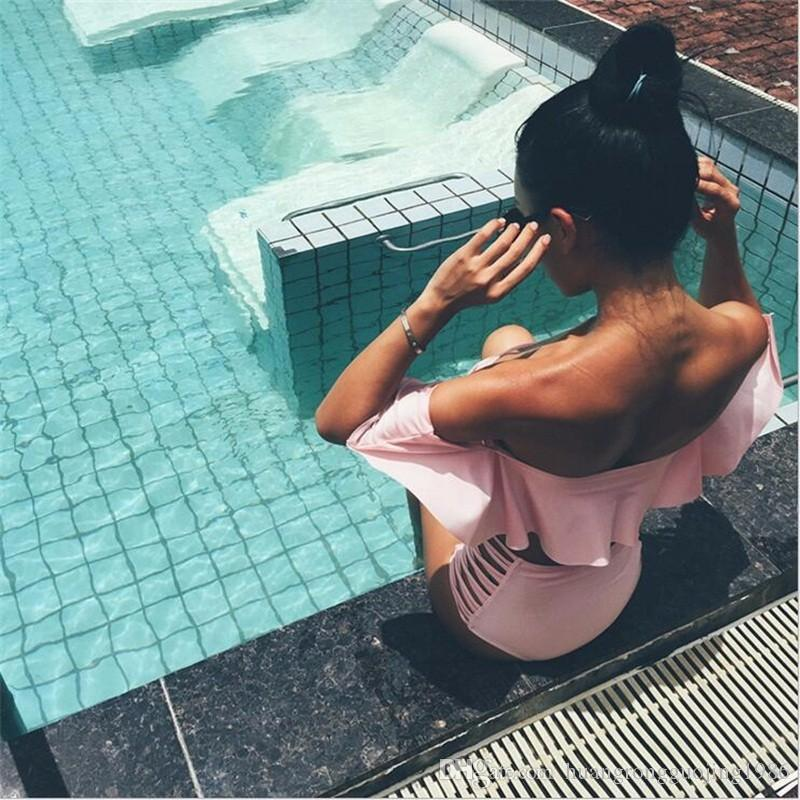 2017 Soild Sexy Falbala Bandeau Bikini Maillots De Bain Maillot De Bain Femmes Taille Haute Bikini Ensemble Maillots De Bain