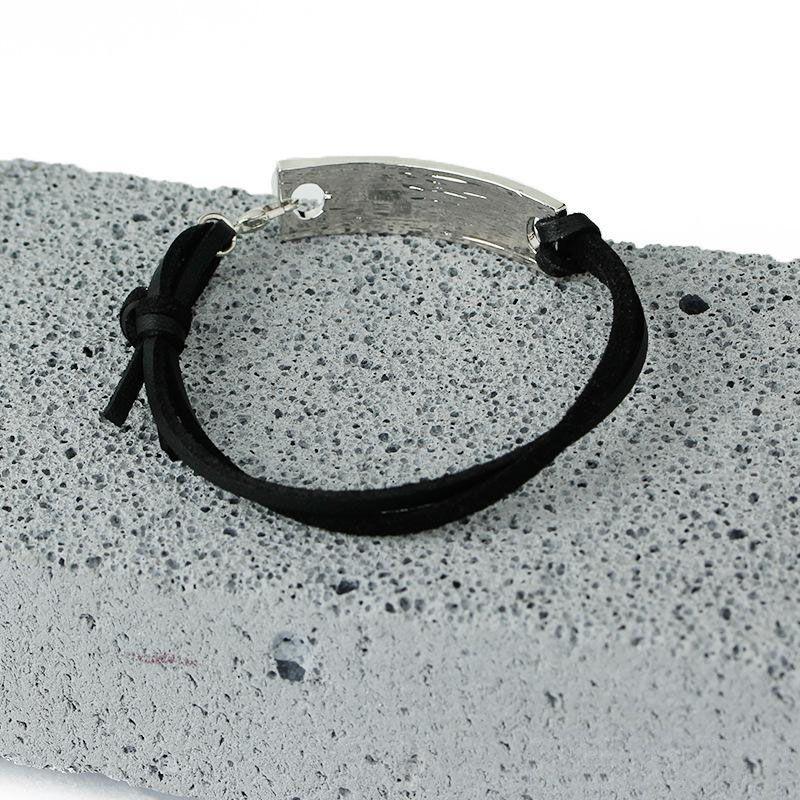 Pulseira inspirada pulseira de couro Vintage pulseiras com letras de gravura nunca nunca desista de homem mulher como presentes do festival