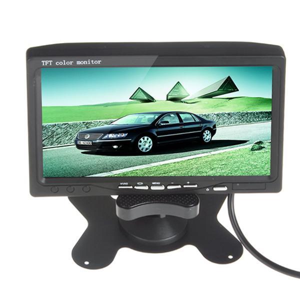 ¡CALIENTE! 7 pulgadas TFT LCD pantalla de visualización del color del coche monitor de visión trasera DVD VCR + 7 IR luces LED monitor de visión nocturna CMO_344