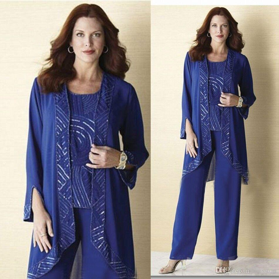 In Stock Blue 3 Piece Mother Of Bride Pant Suits Jewel Neckline Cheap Chiffon Wedding Guest Dress With Jacket Mothers Dresses