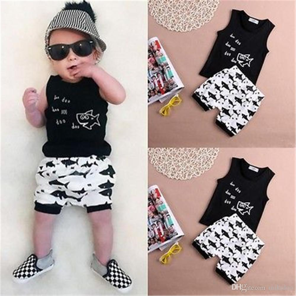 353b354ad16b 2019 Mikrdoo Hot Baby Summer Suit Newborn Kids Boys Clothes Set Doo Doo  Letters Printed Sleeveless Tank Top Tops Shark Pants Short Cotton Outfits  From ...