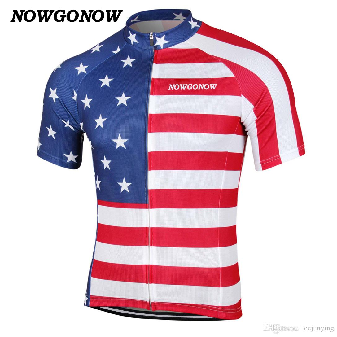 MEN hot 2017 cycling jersey USA United States America flag bike wear tops national team summer tops clothing outdoor riding racing NOWGONOW