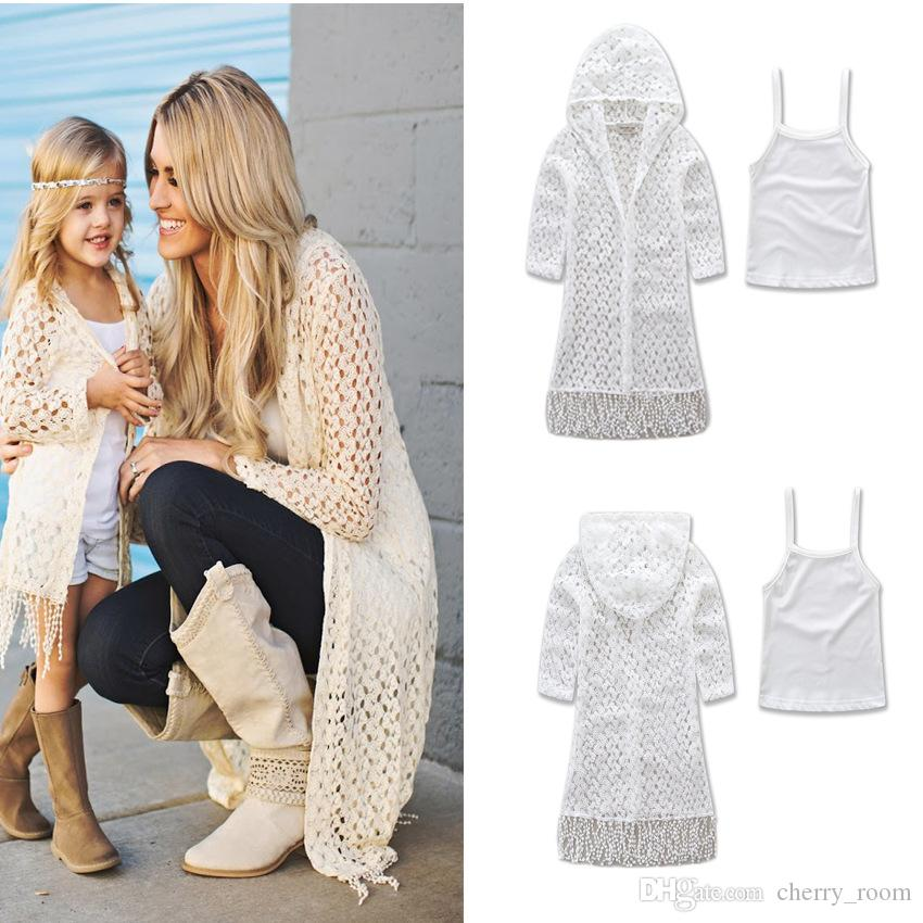 New Fashion Family Clothing Mum Girl Tassel Hollow Cardigan Coat Tank Tops Sets For Mother And Daughter Clothes Set Suits White A6863