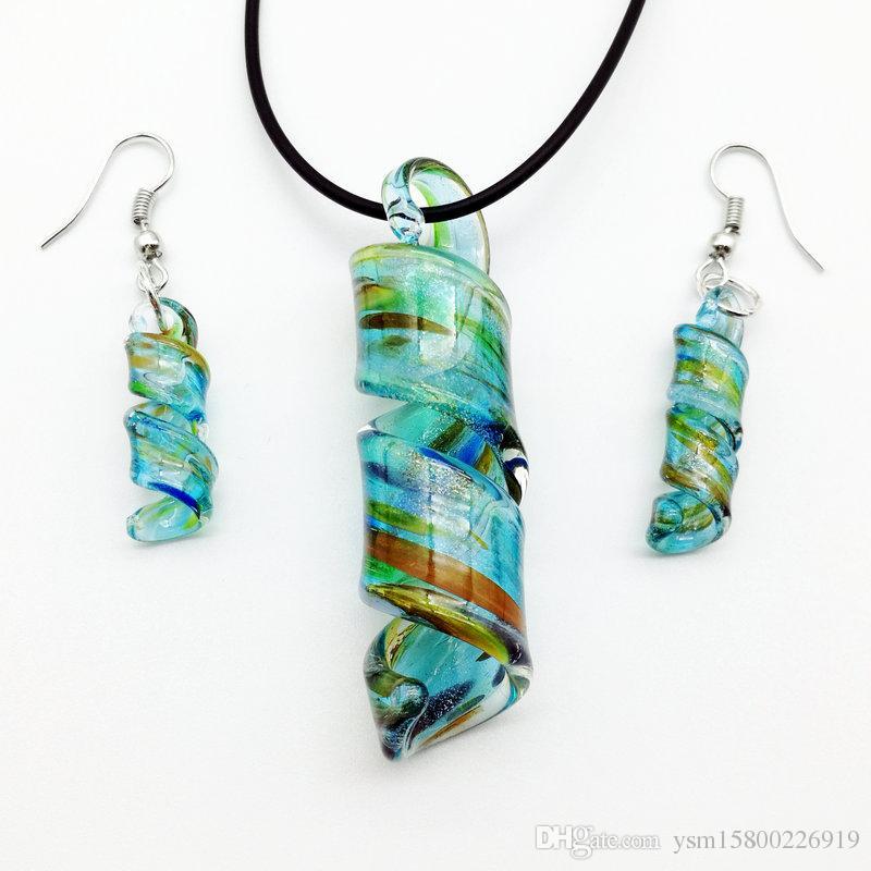 blau Swirl Lampwork Murano Glas Perlen Halskette Ohrringe MODE 57 x 18 mm