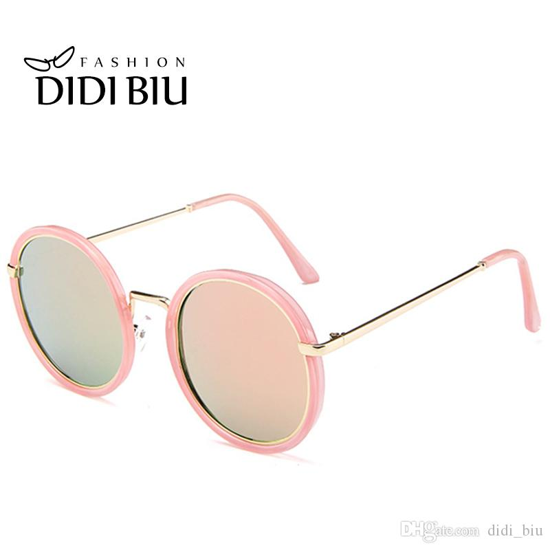 2f17eef8cc DIDI 2017 Women s Korea Round Pink Green Sunglasses Men Mirror ...