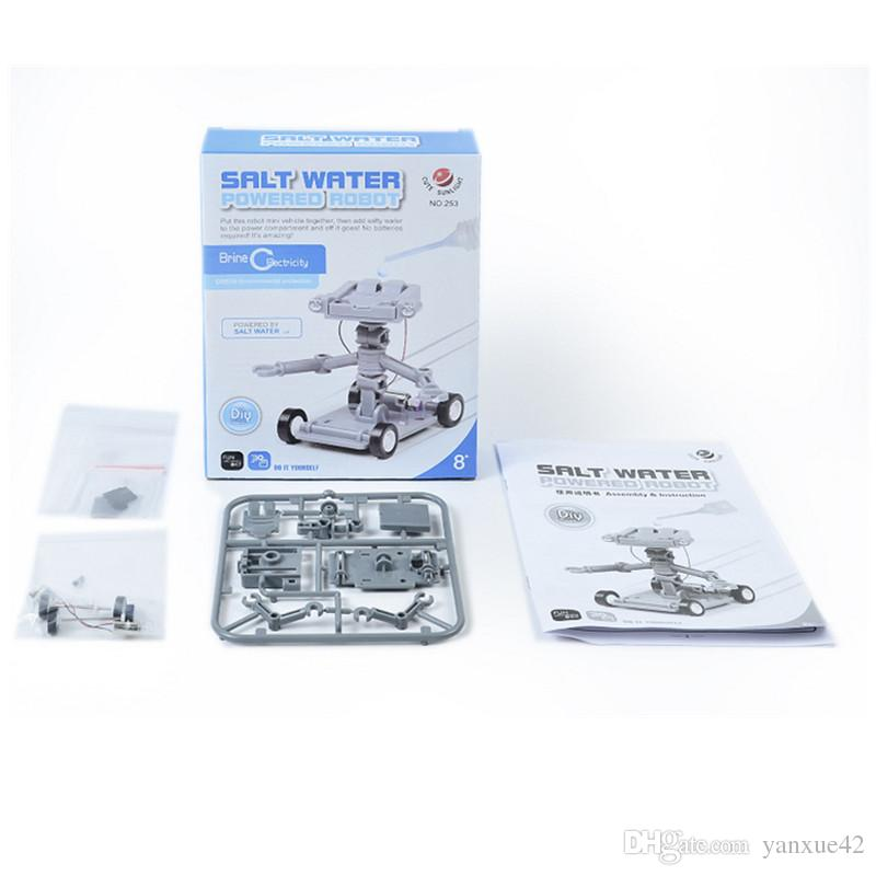 2017 YearChildren's puzzle assembly salt water power robot DIY creative science and education toys