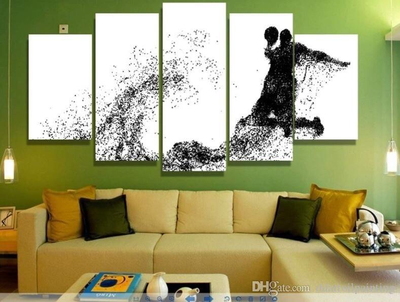 Wholesale Christmas gift abstract basketball white black Painting on canvas modern home decor wall art print canvas painting poster