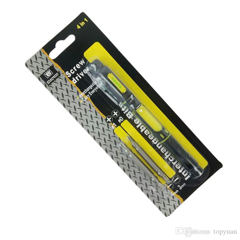 Multifunctional 4 in 1 Alloy Slotted Screwdrivers Pen Style Precision Dual Interchangeable Repair Tool Kit