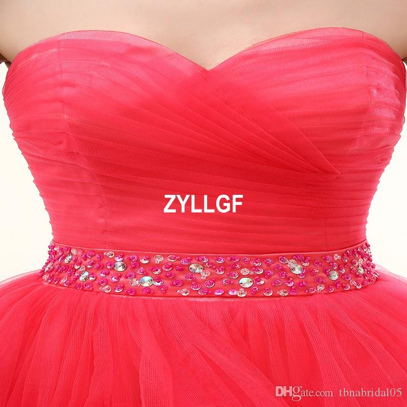 2017 Light Red Short Prom Dresses Strapless Bare Back Zipper Evening Dress Tiered Bottom Ball Gown Prom Custom made From China