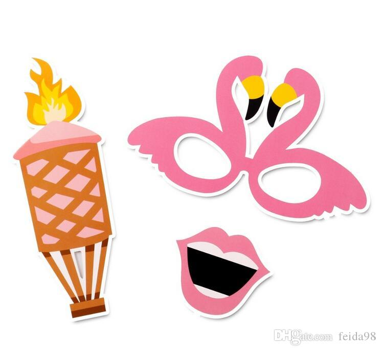 21 pezzi Flamingo Tropical Summer Hen Photo Booth Puntelli Hawaii Carnival Party Decoration Photobooth Compleanno Forniture G917