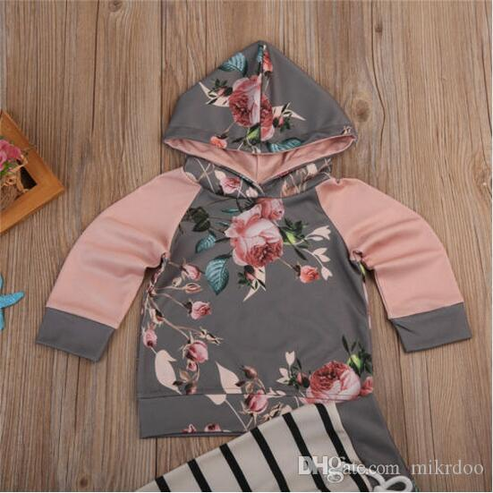 Mikrdoo Baby Floral Clothes Suits Retro Flowers Print Hoodies Striped Pants Sets Newborn Kids Girls Hot Tops Suits Cotton Clothing Outfits