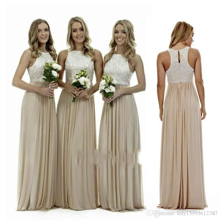 Sexy long champagne chiffon bridesmaid dresses 2017 halter neck 12 ombrellifo Choice Image