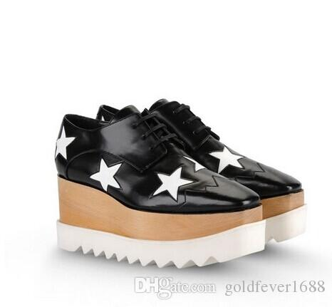 new Stella Mccartney women Shoes platform Black Genuine Leather Upper Silver Glitter Stars White Sole Stars Shoes 35-41