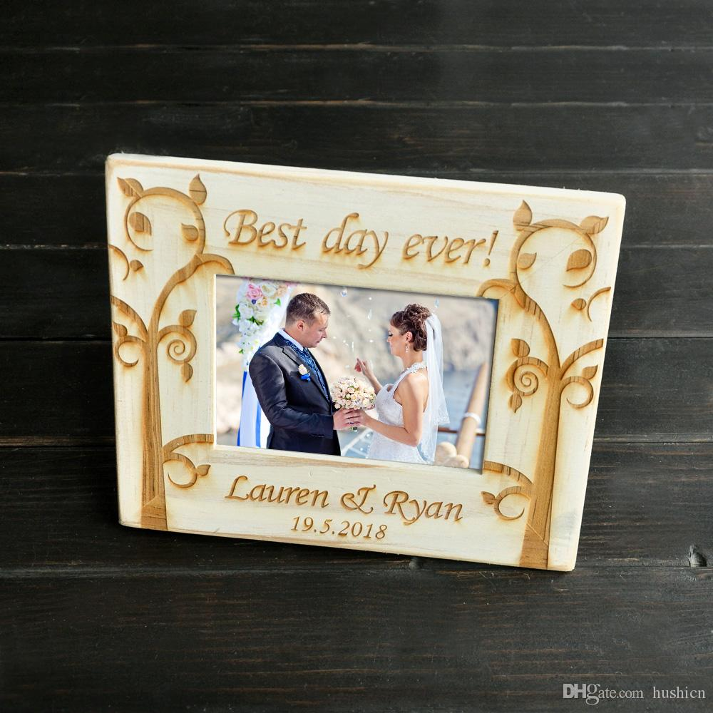 Personalized Retro White Frame Wedding Picture Frame Engagement Gift ...