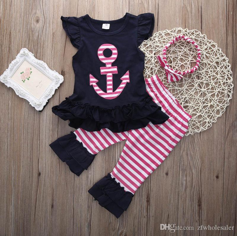 Ropa para bebés y niñas pequeñas Ropa para niños Conjunto de chándal para niños Traje para niños Traje Chaleco Tops Pantalones rosas Diadema Boutique Disfraz para niños