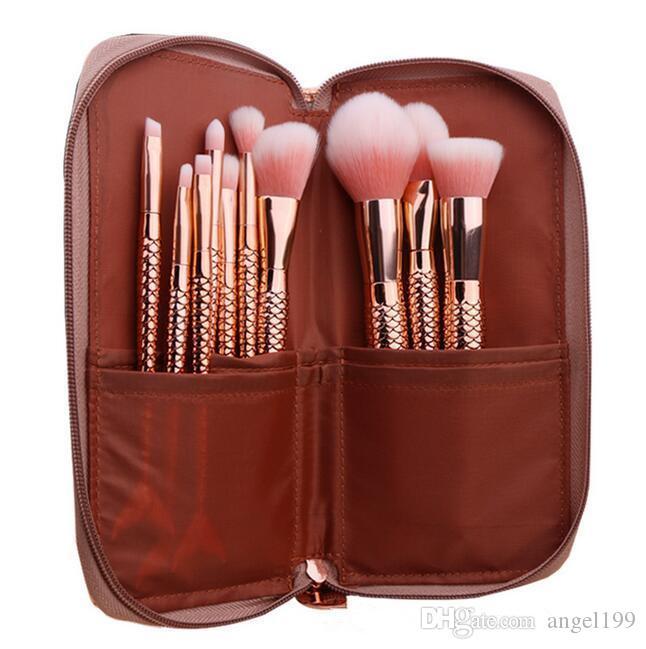 Hot Makeup Brushes Set Mermaid Glitter Diamond Pink Cosmetics Blending Powder Eyeshadow Foundation Brushes Set