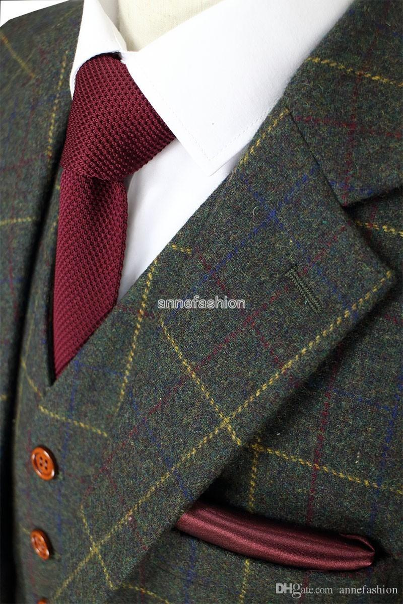 Wool Green Check Tweed Custom Made Men suit Blazers Retro tailor made slim fit wedding suits for men