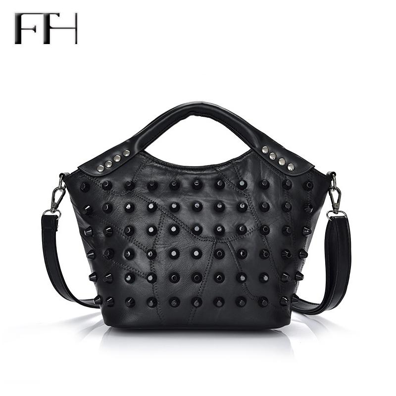 Wholesale- Retro Rivet Patchwork Women Genuine Goat Leather Top-Handle Shoulder Bag Lady Elegant Tote Handbag female business crossbody bag