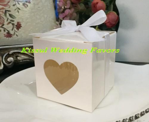Silver Wedding candy box with Love heart Window For Party gift box and wedding souvenirs Favor box