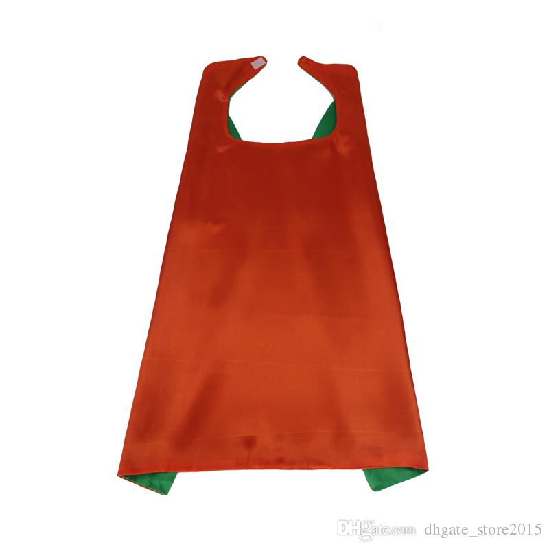 Plain colors 70*70cm 2 layers satincostume Halloween Cosplay Superhero Capes kids capes 30 styles good quality by DHL