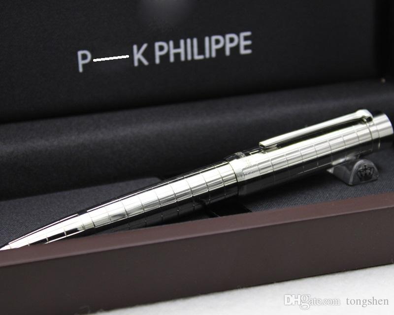 Metall Luxus Stift Silber karierten Kugelschreiber schreiben Lieferant Business Office Schule Luxus mit roten Holz-Box