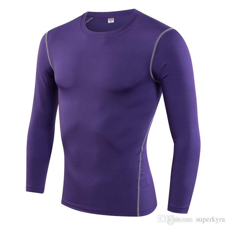 Mens Plain Design Compression Shirt for Gymnastic T-shirts Men Long Sleeve Breathable Skin Tights