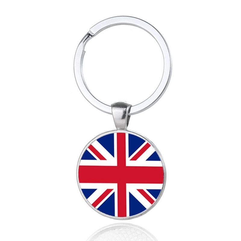 Uk Nation Flag Keychains Glass Cabochon Car Key Bag Accessories