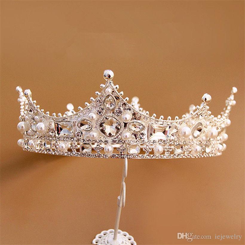 Nupcial do casamento Princesa Rainha Tiara Acessórios Para o Cabelo Cheia Rodada Coroa Headpiece Beads Hair Band Partido Jóias Prom Pageant Crown Jóias