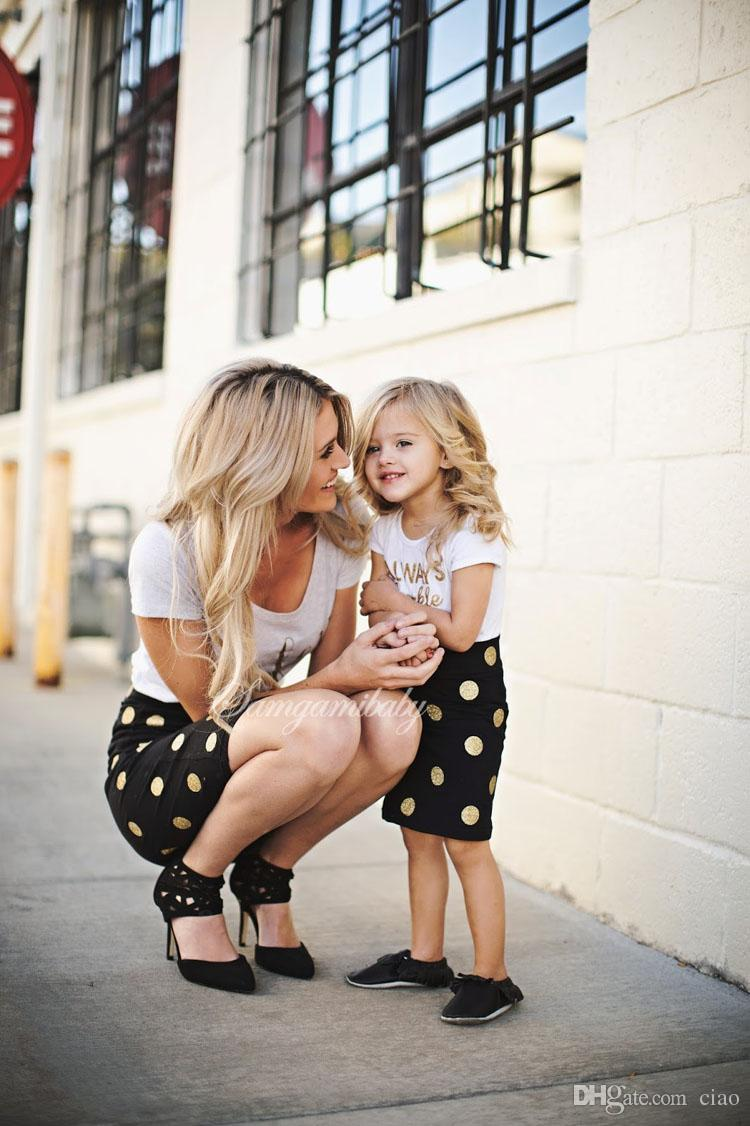 Mother and Daughter Clothes Summer Clothing Dress Baby Girls Kids Suit Outfits letter White T shirt Tops dots skirt Children Set wear A255