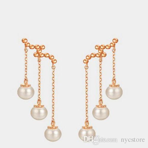 Nueva joyería de plata pendiente del perno prisionero tres perla borla Stud pendientes oro rosa regalo del día de San Valentín de alta calidad