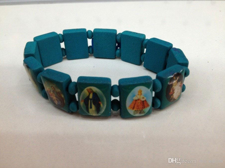 Goed hout Jesus Armbanden Religieuze Houten Hand Decoratie Sieraden UK Stretch Rozenkrans Bead Bangle Bracelet 120 Stks Verlies Geld Goed Verzending